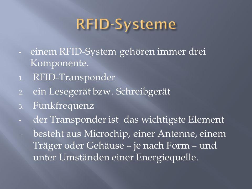 einem RFID-System gehören immer drei Komponente. 1.