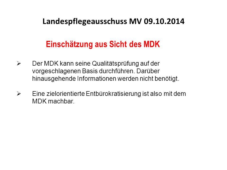 Einschätzung aus Sicht des MDK  Der MDK kann seine Qualitätsprüfung auf der vorgeschlagenen Basis durchführen.