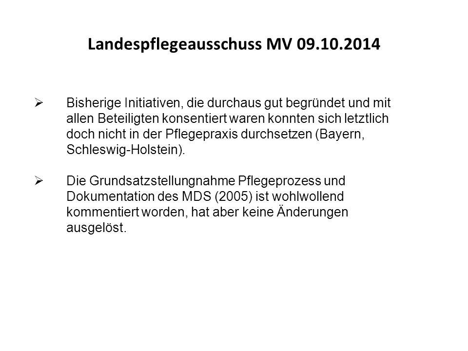 """""""Die Zeit ist also reif für eine veränderte Dokumentationspraxis in der Pflege Landespflegeausschuss MV 09.10.2014"""
