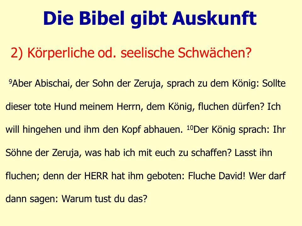 9 Aber Abischai, der Sohn der Zeruja, sprach zu dem König: Sollte dieser tote Hund meinem Herrn, dem König, fluchen dürfen? Ich will hingehen und ihm