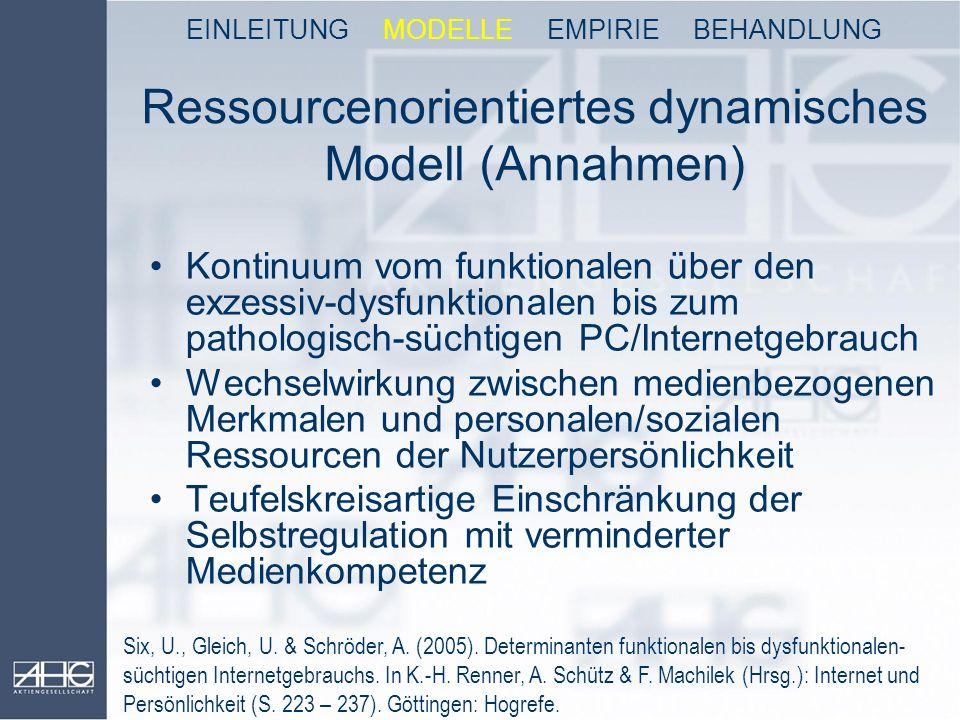 Ressourcenorientiertes dynamisches Modell (Annahmen) Kontinuum vom funktionalen über den exzessiv-dysfunktionalen bis zum pathologisch-süchtigen PC/In