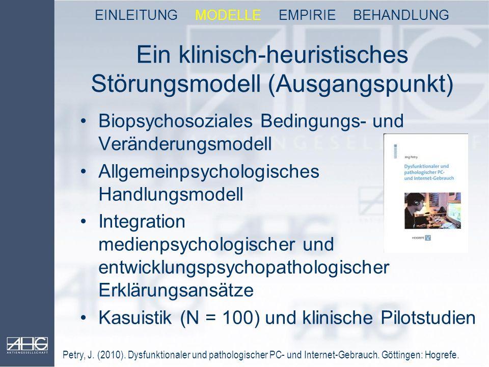 Ein klinisch-heuristisches Störungsmodell (Ausgangspunkt) Biopsychosoziales Bedingungs- und Veränderungsmodell Allgemeinpsychologisches Handlungsmodel
