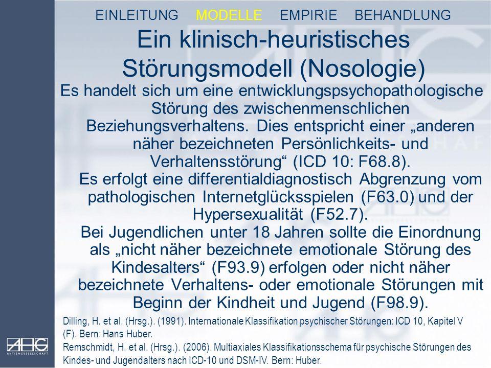 Ein klinisch-heuristisches Störungsmodell (Nosologie) Es handelt sich um eine entwicklungspsychopathologische Störung des zwischenmenschlichen Beziehu