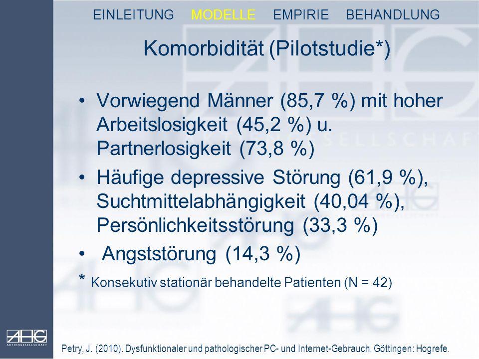 Komorbidität (Pilotstudie*) Vorwiegend Männer (85,7 %) mit hoher Arbeitslosigkeit (45,2 %) u. Partnerlosigkeit (73,8 %) Häufige depressive Störung (61
