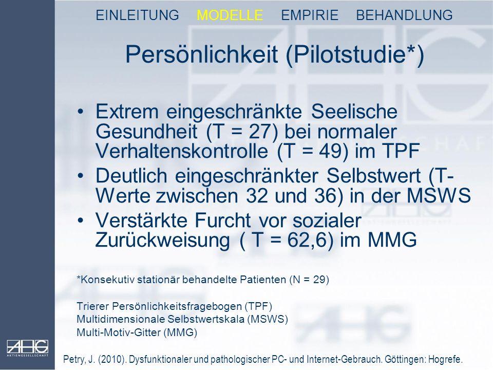 Persönlichkeit (Pilotstudie*) Extrem eingeschränkte Seelische Gesundheit (T = 27) bei normaler Verhaltenskontrolle (T = 49) im TPF Deutlich eingeschrä