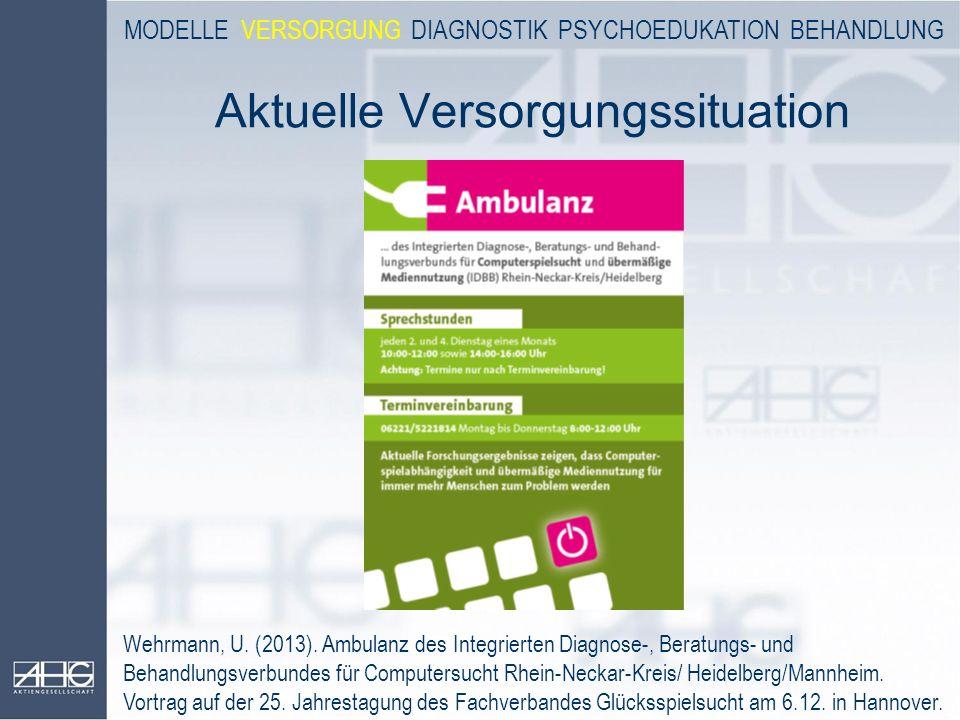 Aktuelle Versorgungssituation Wehrmann, U. (2013). Ambulanz des Integrierten Diagnose-, Beratungs- und Behandlungsverbundes für Computersucht Rhein-Ne