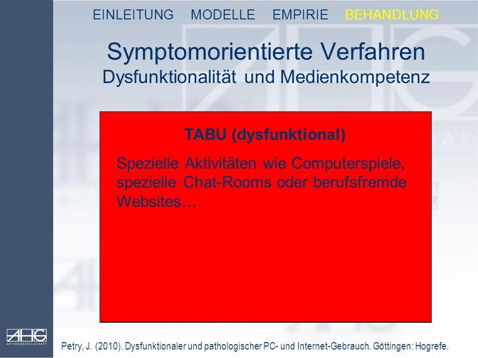 Symptomorientierte Verfahren Dysfunktionalität und Medienkompetenz OKAY (funktional) Beruflich notwendige PC-Nutzung wie definierte eMail-Korresponden