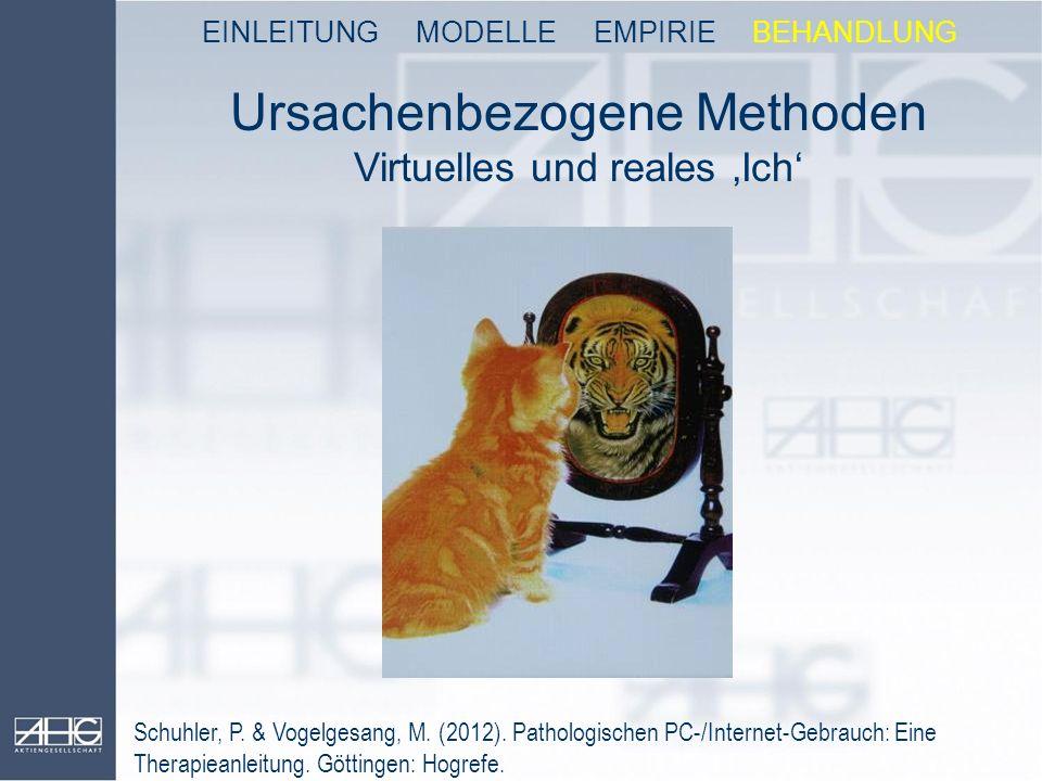 Ursachenbezogene Methoden Virtuelles und reales 'Ich' EINLEITUNG MODELLE EMPIRIE BEHANDLUNG Schuhler, P. & Vogelgesang, M. (2012). Pathologischen PC-/