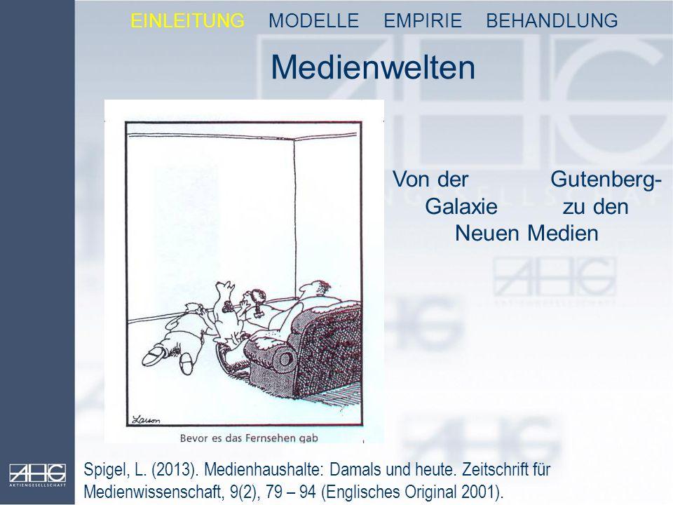 Medienwelten Von der Gutenberg- Galaxie zu den Neuen Medien Spigel, L. (2013). Medienhaushalte: Damals und heute. Zeitschrift für Medienwissenschaft,
