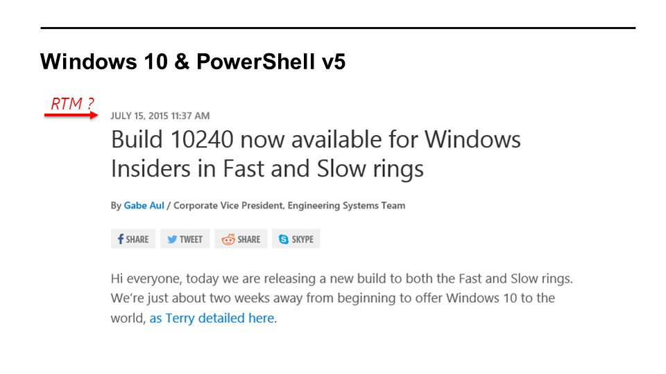 Windows 10 & PowerShell v5 RTM ?