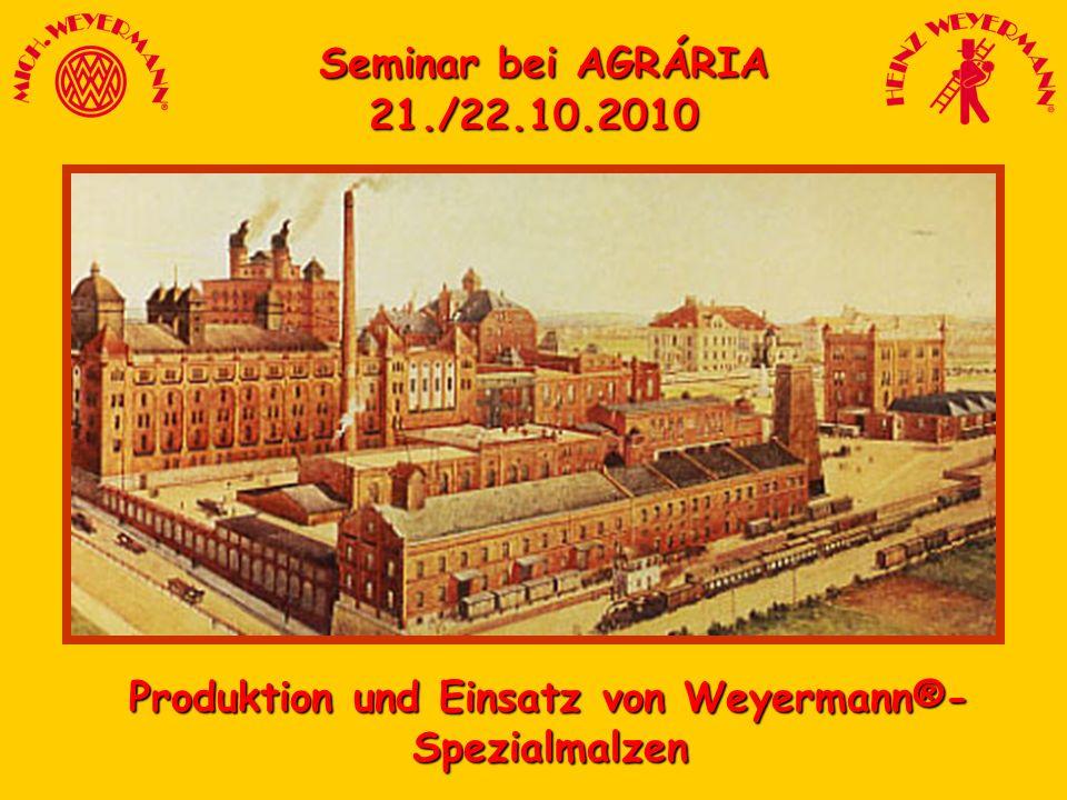 Seminar bei AGRÁRIA Seminar bei AGRÁRIA21./22.10.2010 Produktion und Einsatz von Weyermann®- Spezialmalzen