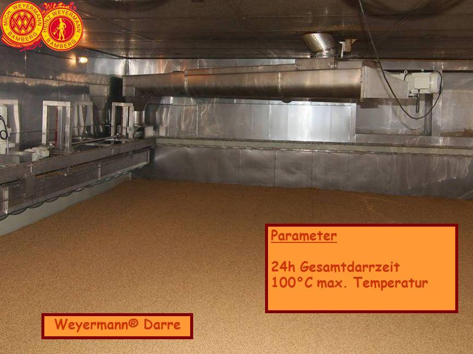 Weyermann® Darre Parameter 24h Gesamtdarrzeit 100°C max. Temperatur