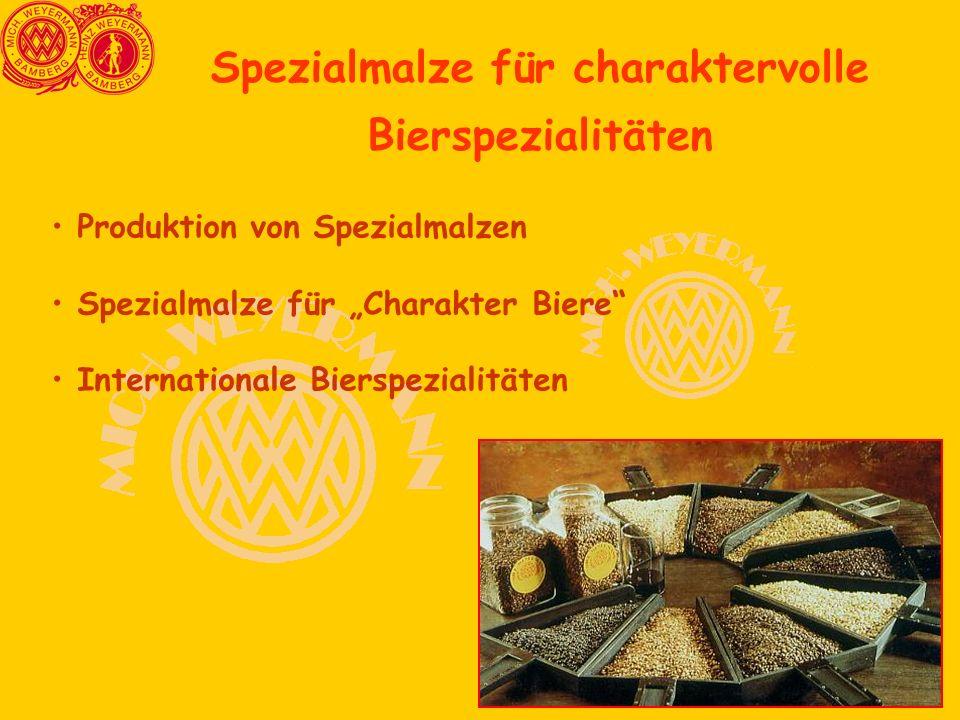 """Spezialmalze für charaktervolle Bierspezialitäten Produktion von Spezialmalzen Spezialmalze für """"Charakter Biere Internationale Bierspezialitäten"""
