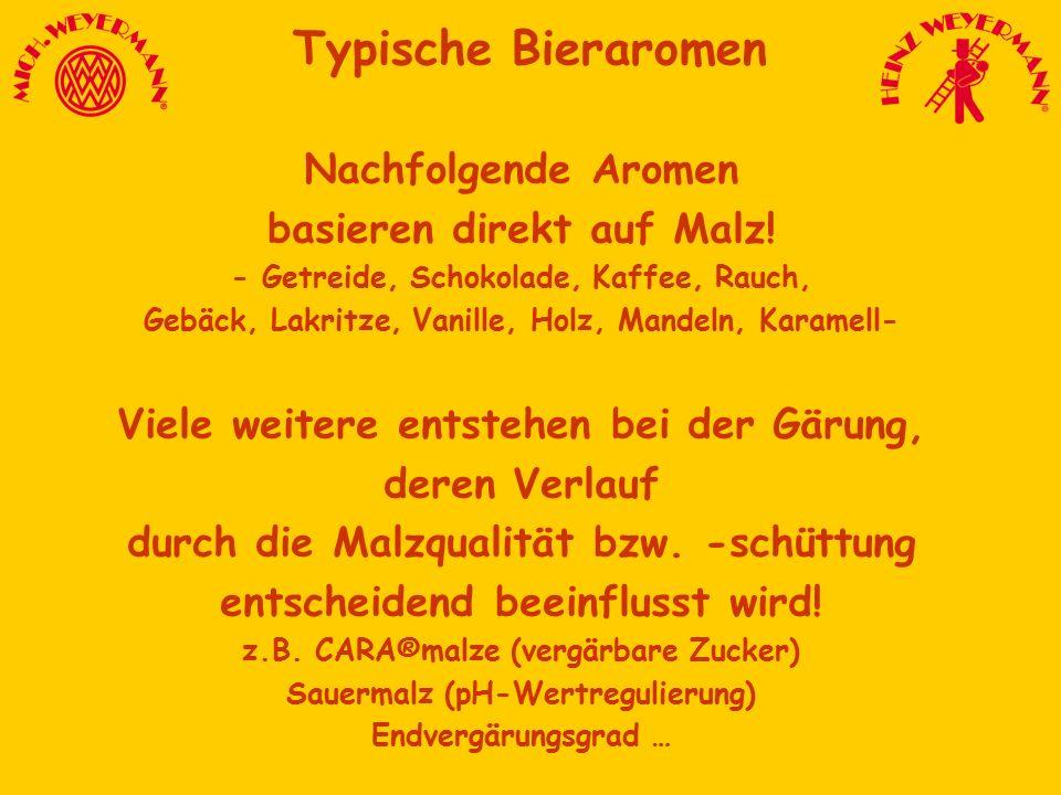 Typische Bieraromen Nachfolgende Aromen basieren direkt auf Malz! - Getreide, Schokolade, Kaffee, Rauch, Gebäck, Lakritze, Vanille, Holz, Mandeln, Kar