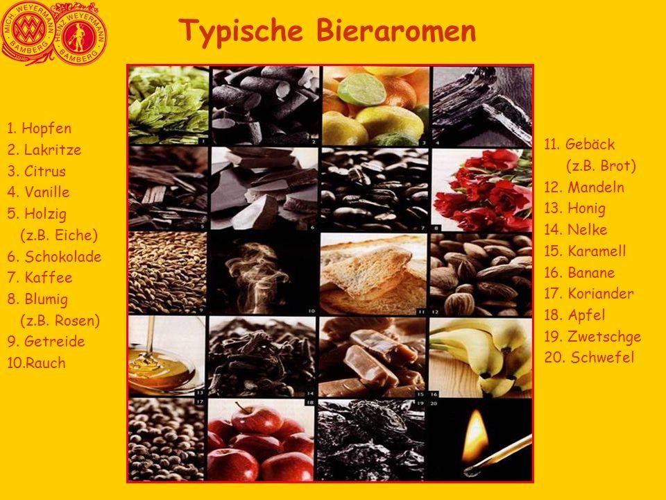 Typische Bieraromen 1. Hopfen 2. Lakritze 3. Citrus 4. Vanille 5. Holzig (z.B. Eiche) 6. Schokolade 7. Kaffee 8. Blumig (z.B. Rosen) 9. Getreide 10.Ra