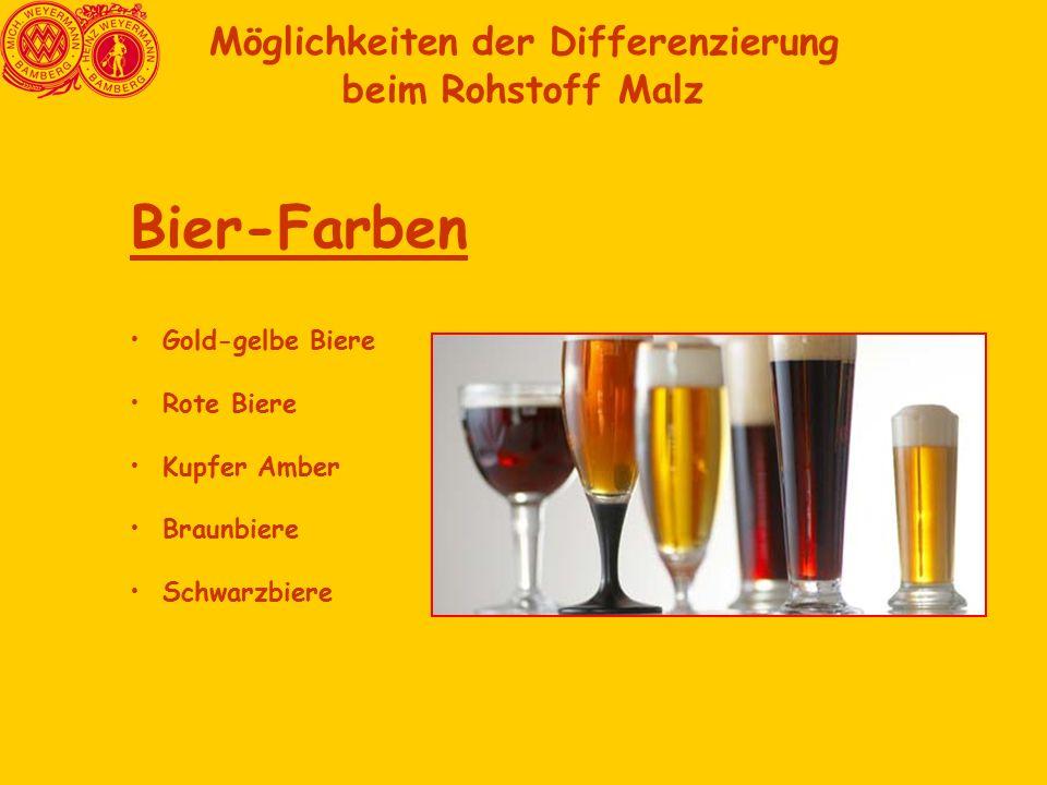 Möglichkeiten der Differenzierung beim Rohstoff Malz Bier-Farben Gold-gelbe Biere Rote Biere Kupfer Amber Braunbiere Schwarzbiere