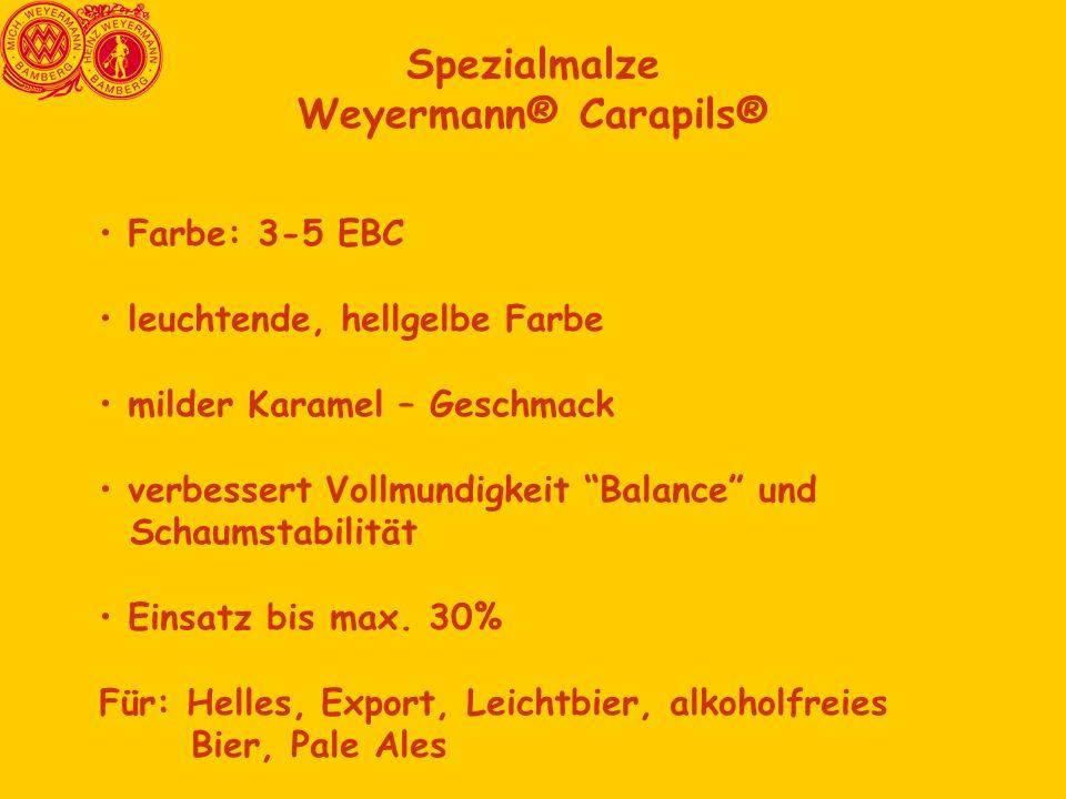 Spezialmalze Weyermann® Carapils® Farbe: 3-5 EBC leuchtende, hellgelbe Farbe milder Karamel – Geschmack verbessert Vollmundigkeit Balance und Schaumstabilität Einsatz bis max.