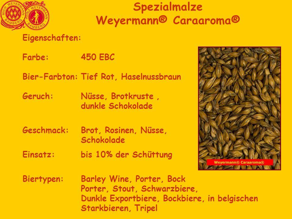 Spezialmalze Weyermann® Caraaroma® Eigenschaften: Farbe: 450 EBC Bier-Farbton:Tief Rot, Haselnussbraun Geruch:Nüsse, Brotkruste, dunkle Schokolade Geschmack:Brot, Rosinen, Nüsse, Schokolade Einsatz:bis 10% der Schüttung Biertypen: Barley Wine, Porter, Bock Porter, Stout, Schwarzbiere, Dunkle Exportbiere, Bockbiere, in belgischen Starkbieren, Tripel