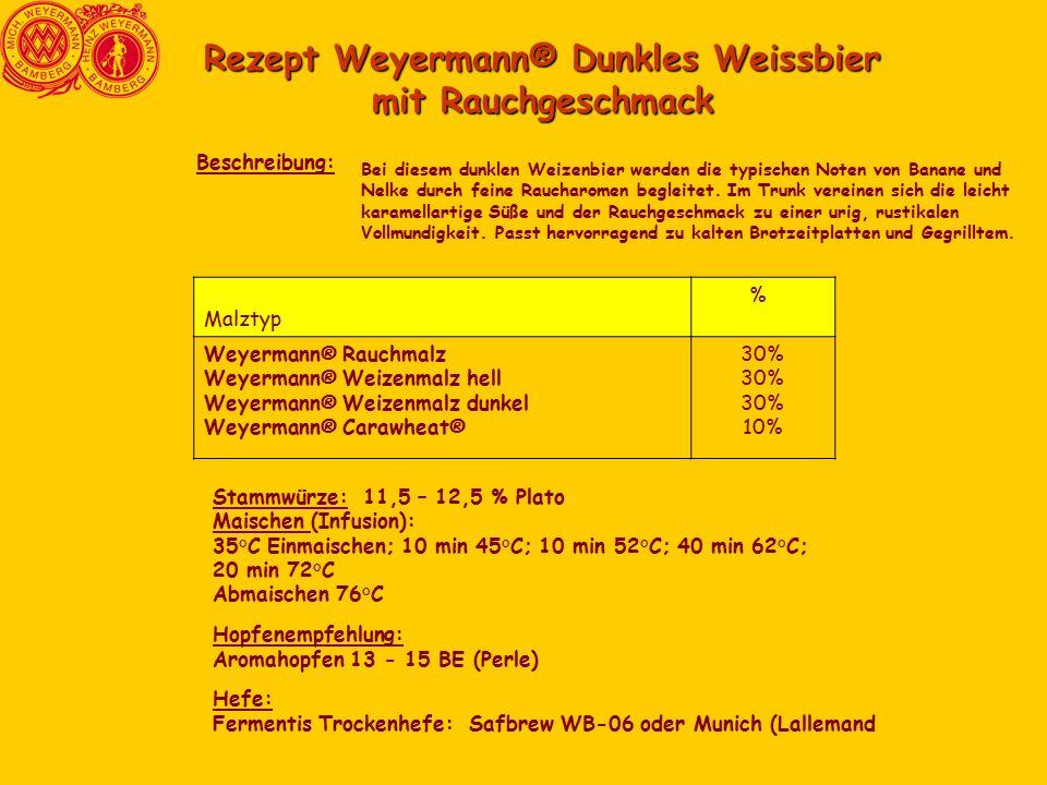 Rezept Weyermann® Dunkles Weissbier mit Rauchgeschmack Bei diesem dunklen Weizenbier werden die typischen Noten von Banane und Nelke durch feine Raucharomen begleitet.