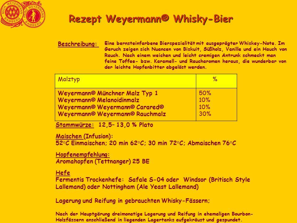 Rezept Weyermann® Whisky-Bier Eine bernsteinfarbene Bierspezialität mit ausgeprägter Whiskey-Note. Im Geruch zeigen sich Nuancen von Biskuit, Süßholz,