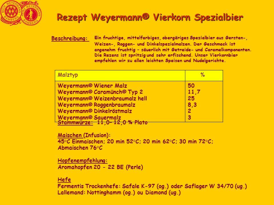 Rezept Weyermann® Vierkorn Spezialbier Ein fruchtige, mittelfarbiges, obergäriges Spezialbier aus Gersten-, Weizen-, Roggen- und Dinkelspezialmalzen.