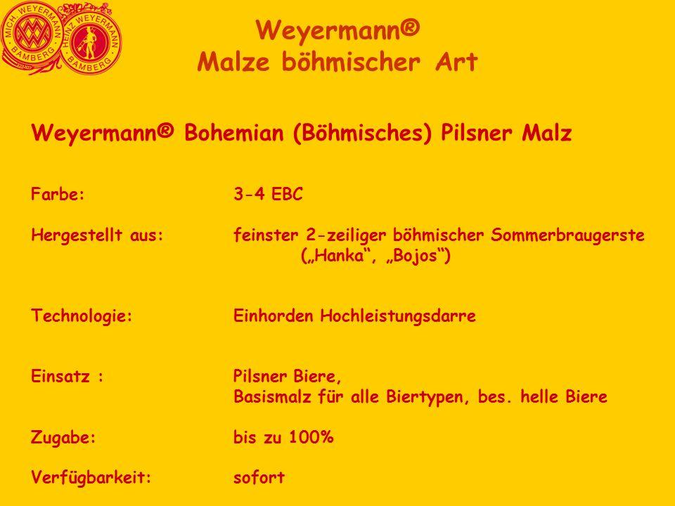 """Weyermann® Bohemian (Böhmisches) Pilsner Malz Farbe:3-4 EBC Hergestellt aus:feinster 2-zeiliger böhmischer Sommerbraugerste (""""Hanka , """"Bojos ) Technologie:Einhorden Hochleistungsdarre Einsatz :Pilsner Biere, Basismalz für alle Biertypen, bes."""