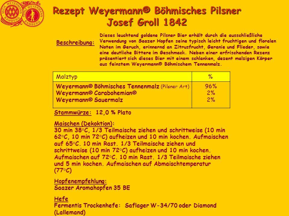 Rezept Weyermann® Böhmisches Pilsner Josef Groll 1842 Dieses leuchtend goldene Pilsner Bier erhält durch die ausschließliche Verwendung von Saazer Hopfen seine typisch leicht fruchtigen und floralen Noten im Geruch, erinnernd an Zitrusfrucht, Geranie und Flieder, sowie eine deutliche Bittere im Geschmack.