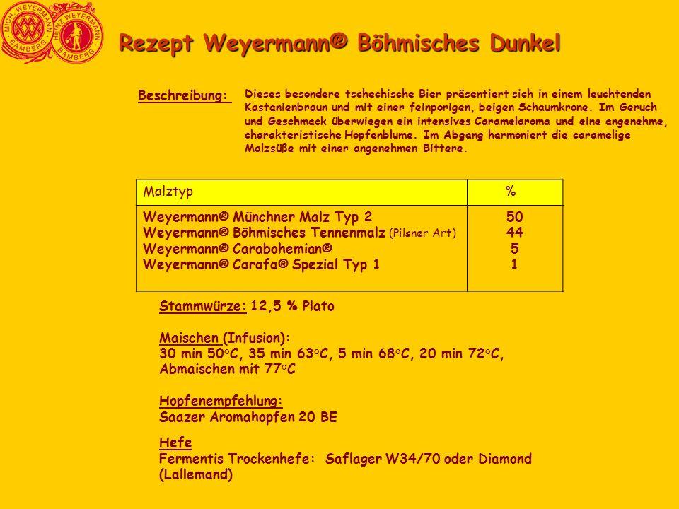 Rezept Weyermann® Böhmisches Dunkel Dieses besondere tschechische Bier präsentiert sich in einem leuchtenden Kastanienbraun und mit einer feinporigen, beigen Schaumkrone.
