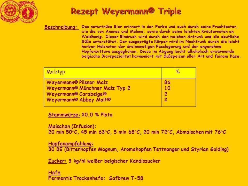 Rezept Weyermann® Triple Das naturtrübe Bier erinnert in der Farbe und auch durch seine Fruchtester, wie die von Ananas und Melone, sowie durch seine leichten Kräuternoten an Waldhonig.