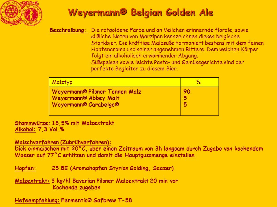 Weyermann® Belgian Golden Ale Die rotgoldene Farbe und an Veilchen erinnernde florale, sowie süßliche Noten von Marzipan kennzeichnen dieses belgische Starkbier.