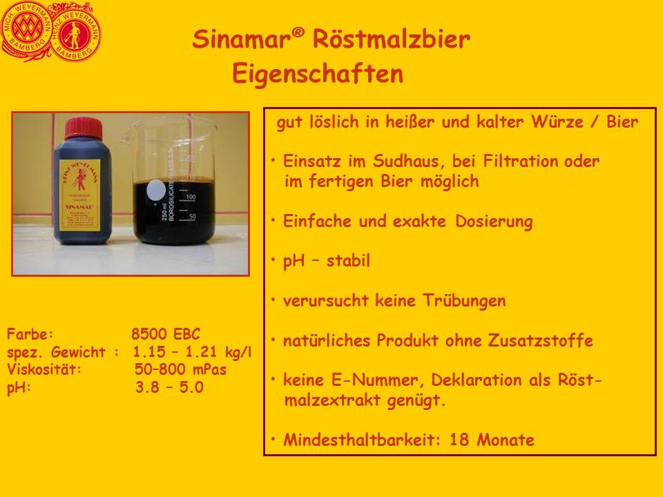 Sinamar ® Röstmalzbier Eigenschaften Farbe: 8500 EBC spez. Gewicht : 1.15 – 1.21 kg/l Viskosität: 50–800 mPas pH: 3.8 – 5.0 gut löslich in heißer und