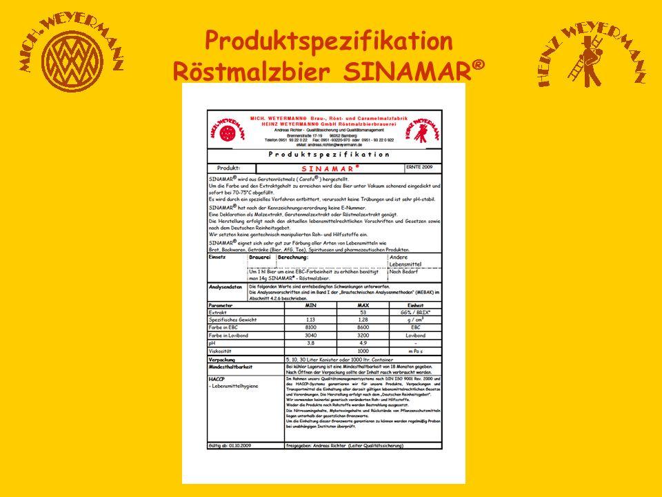Produktspezifikation Röstmalzbier SINAMAR ®