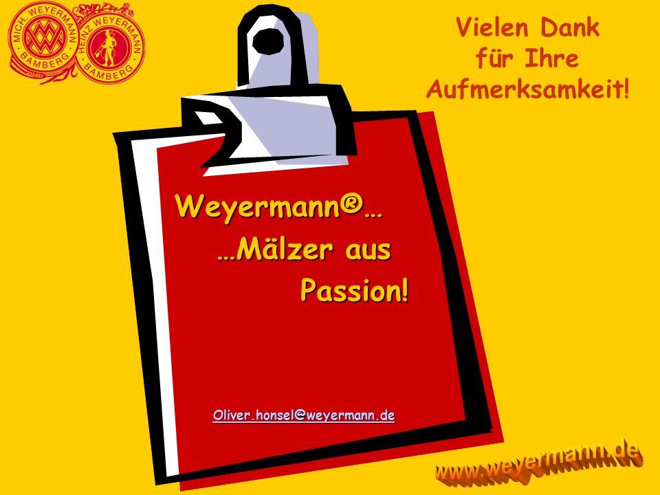 Weyermann®… …Mälzer aus …Mälzer aus Passion! Passion! Oliver.honsel@weyermann.de Vielen Dank für Ihre Aufmerksamkeit!