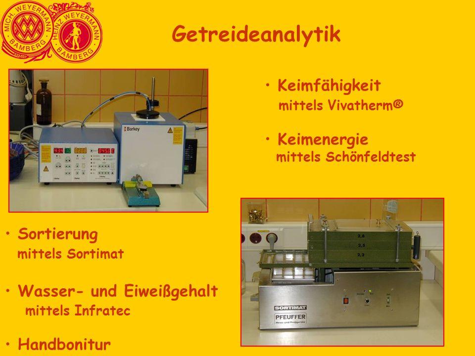 Getreideanalytik Keimfähigkeit mittels Vivatherm® Keimenergie mittels Schönfeldtest Sortierung mittels Sortimat Wasser- und Eiweißgehalt mittels Infra
