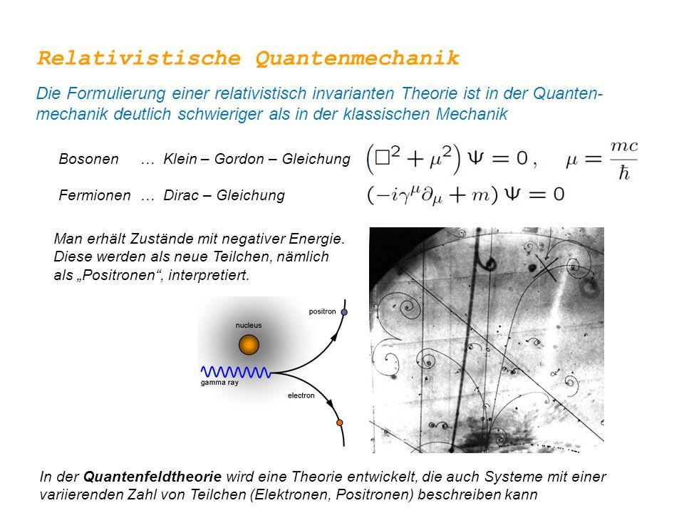 Relativistische Quantenmechanik Die Formulierung einer relativistisch invarianten Theorie ist in der Quanten- mechanik deutlich schwieriger als in der