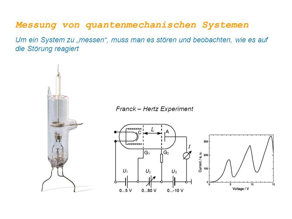 """Franck – Hertz Experiment Messung von quantenmechanischen Systemen Um ein System zu """"messen"""", muss man es stören und beobachten, wie es auf die Störun"""