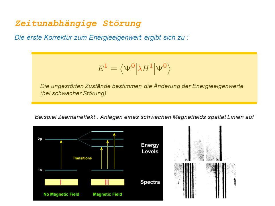 Zeitunabhängige Störung Die ungestörten Zustände bestimmen die Änderung der Energieeigenwerte (bei schwacher Störung) Die erste Korrektur zum Energiee