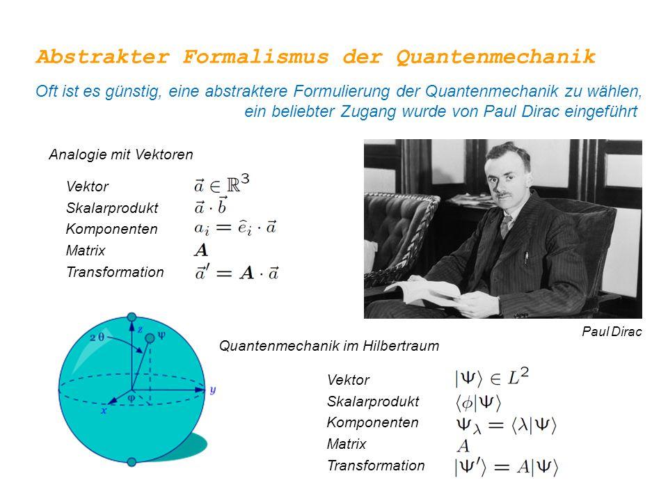 Analogie mit Vektoren Abstrakter Formalismus der Quantenmechanik Oft ist es günstig, eine abstraktere Formulierung der Quantenmechanik zu wählen, ein