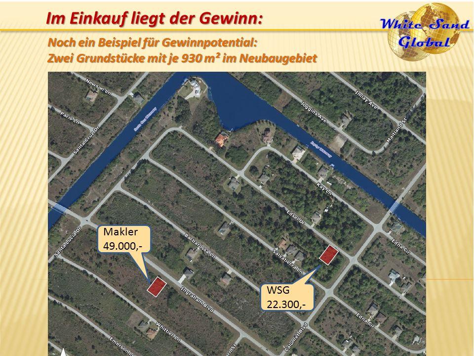 Noch ein Beispiel für Gewinnpotential: Zwei Grundstücke mit je 930 m² im Neubaugebiet Im Einkauf liegt der Gewinn: Makler 49.000,- WSG 22.300,-