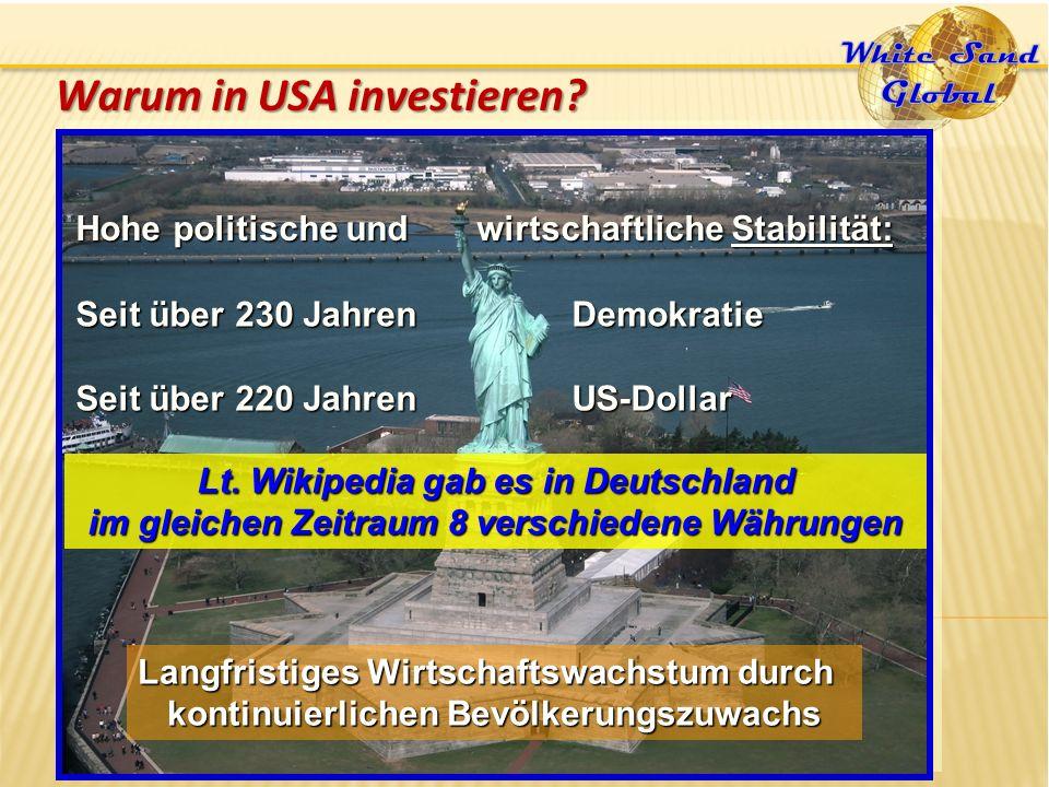 Hohe politische und wirtschaftliche Stabilität: Seit über 230 Jahren Demokratie Seit über 220 Jahren US-Dollar Warum in USA investieren.