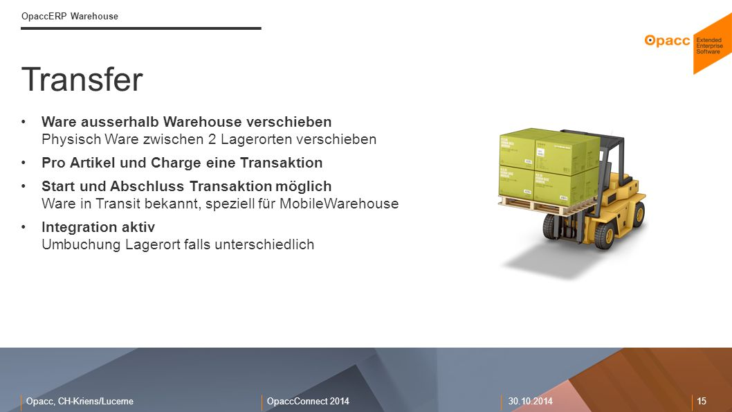 Opacc, CH-Kriens/LucerneOpaccConnect 201430.10.2014 15 Transfer OpaccERP Warehouse Ware ausserhalb Warehouse verschieben Physisch Ware zwischen 2 Lage