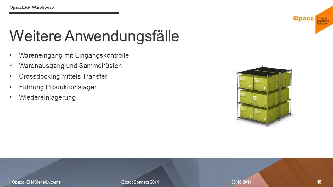 Opacc, CH-Kriens/LucerneOpaccConnect 201430.10.2014 18 Weitere Anwendungsfälle OpaccERP Warehouse Wareneingang mit Eingangskontrolle Warenausgang und