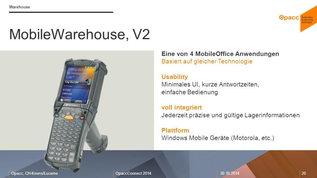 Opacc, CH-Kriens/LucerneOpaccConnect 201430.10.2014 20 Warehouse MobileWarehouse, V2 Eine von 4 MobileOffice Anwendungen Basiert auf gleicher Technolo