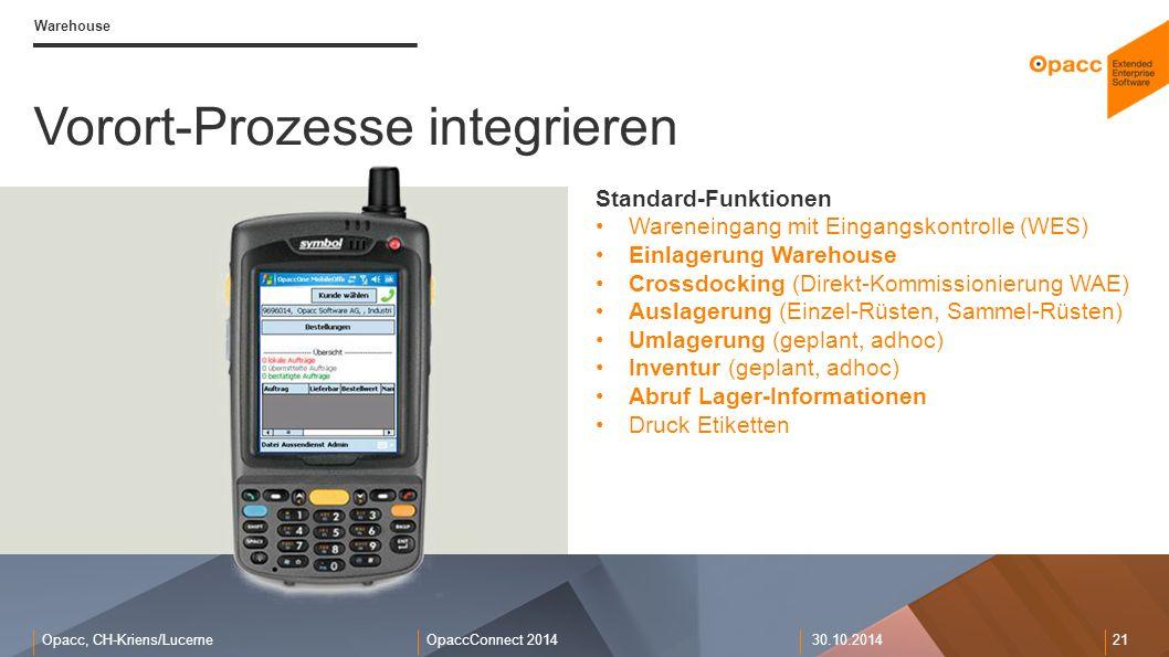 Opacc, CH-Kriens/LucerneOpaccConnect 201430.10.2014 21 Warehouse Vorort-Prozesse integrieren Standard-Funktionen Wareneingang mit Eingangskontrolle (W