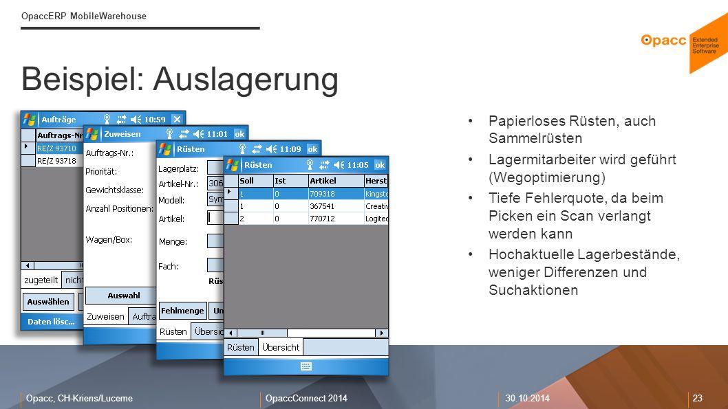 Opacc, CH-Kriens/LucerneOpaccConnect 201430.10.2014 23 Beispiel: Auslagerung OpaccERP MobileWarehouse Papierloses Rüsten, auch Sammelrüsten Lagermitar