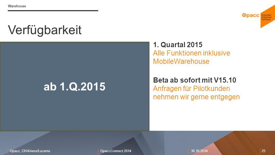 Opacc, CH-Kriens/LucerneOpaccConnect 201430.10.2014 25 Warehouse Verfügbarkeit ab 1.Q.2015 1. Quartal 2015 Alle Funktionen inklusive MobileWarehouse B