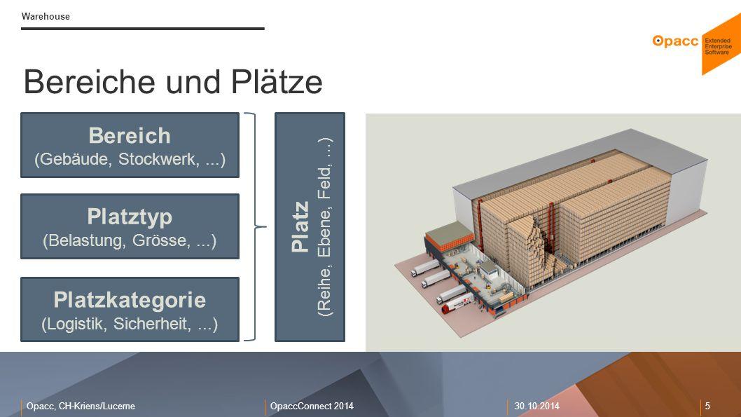 Opacc, CH-Kriens/LucerneOpaccConnect 201430.10.2014 5 Warehouse Bereiche und Plätze Bereich (Gebäude, Stockwerk,...) Platz (Reihe, Ebene, Feld,...) Pl