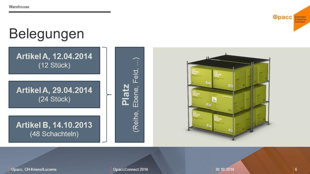 Opacc, CH-Kriens/LucerneOpaccConnect 201430.10.2014 6 Warehouse Belegungen Artikel A, 12.04.2014 (12 Stück) Platz (Reihe, Ebene, Feld,...) Artikel A,