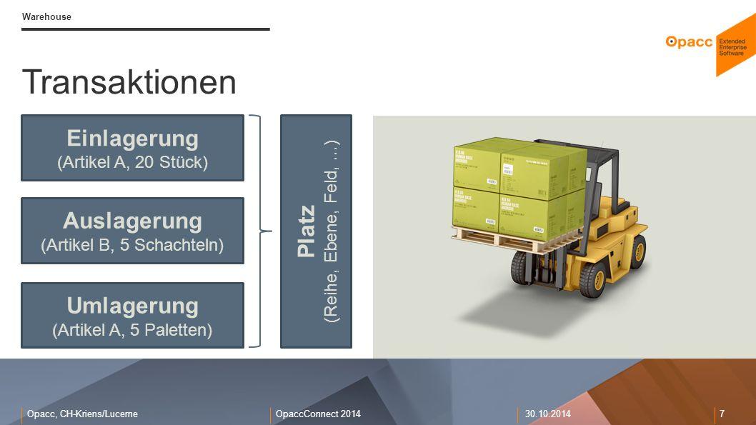 Opacc, CH-Kriens/LucerneOpaccConnect 201430.10.2014 7 Warehouse Transaktionen Einlagerung (Artikel A, 20 Stück) Platz (Reihe, Ebene, Feld,...) Auslage
