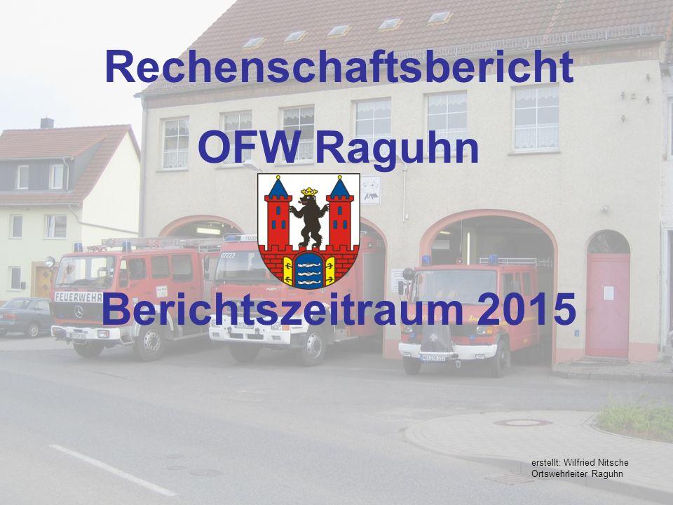 Rechenschaftsbericht OFW Raguhn Berichtszeitraum 2015 erstellt: Wilfried Nitsche Ortswehrleiter Raguhn